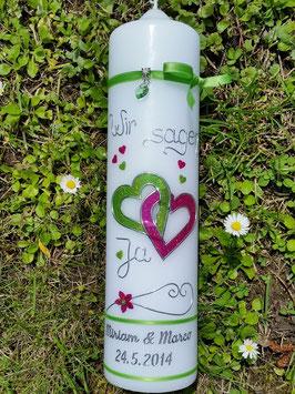 Hochzeitskerze Apfelgrün-Pink Holoflitter HK205 Wir sagen Ja!