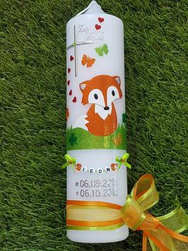 Taufkerze TK209 Fuchs Orange-Weiß-Apfelgrün Holoflitter / Ohne Krone