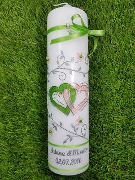 Hochzeitskerze Apfelgrün-Apricot Holoflitter HK204 Klassisch