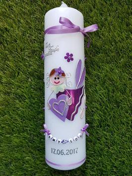 Taufkerze SK116 Schutzengel Mädchen Brombeerlila-Flieder Flitter mit Blüten