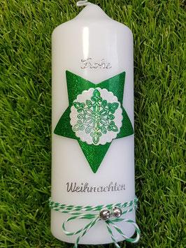 Weihnachtskerze WK100 Sterne Weiß & Grasgrün Holoflitter