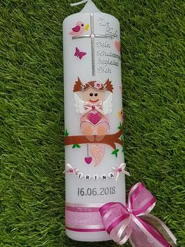 Taufkerze SK155 SCHUTZENGEL mit Spruch / Zartrosa-Pink Holoflitter / Buchstabenkette