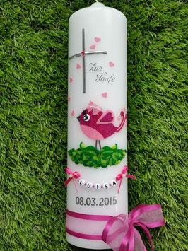 Taufkerze Vögelchen TK178 Pink-Rosa Flitter
