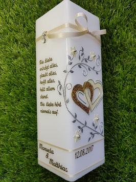 Hochzeitskerze HKS221 Gold Holo-Creme Perlmutt/Bänder Creme