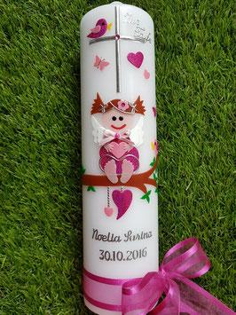 Taufkerze SK155 SCHUTZENGEL Pink-Rosa Hololfitter / Silberschrift