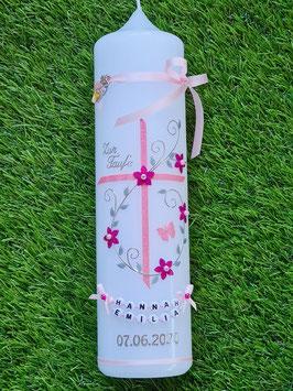 Taufkerze TK102-1 Klassisch Rosa-Pink Holoflitter mit Schmetterling