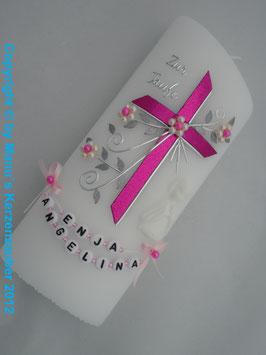 Tisch oder Patenkerze sehr edel Kreuz TK130 Pink Holoflitter / Engel Weiß