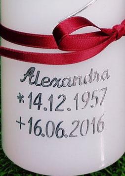Kerzenbeschriftung 1 Name & 2 Datums