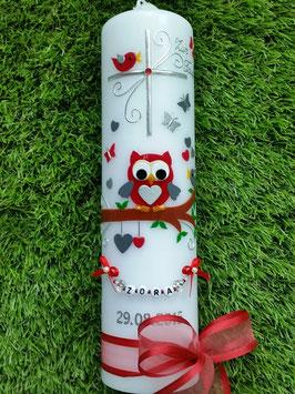 Taufkerze EULE das Original mit Buchstaben-Kette TK181 in Rot-Grau-Silber Uni