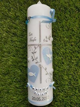 Taufkerze TK109 Klassisch Hellblau Flitter & Buchstabenkette /Taube & Fisch
