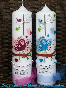 Taufkerzen Zwillinge Schmetterlinge TK183 türkis-hellblau & pink-rosa flitter