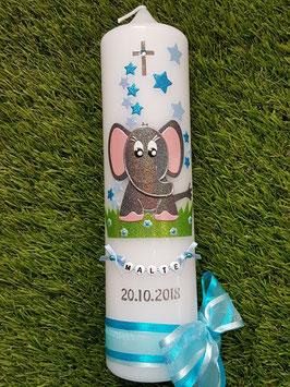 Taufkerze Elefant TK210-8 Anthrazit-Türkis-Hellblau Holoflitter mit Sterne / Rosa Ohren