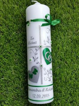 Hochzeitskerze HK109-1 Grasgrün Holoflitter mit Silber