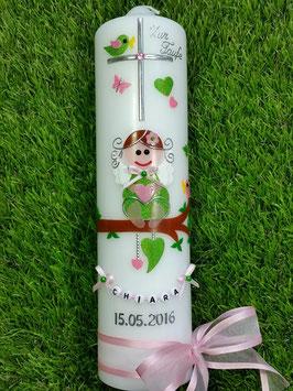 Taufkerze SK155-1 SCHUTZENGEL Apfelgrün-Rosa Holoflitter / Braune Haare / Buchstabenkette