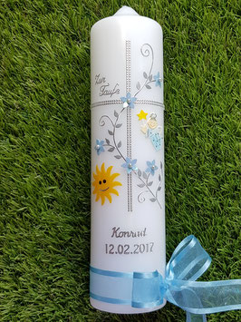Taufkerze Kreuz TK109-5 Hellblau Flitter-Silber mit Sonne
