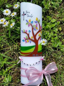Taufkerze  Lebensbaum mit Buchstabenkette & Rosa Satinband TK400