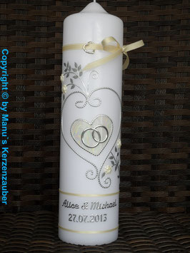 Hochzeitskerze klassisch HK208 Creme Marmoriert-Silber