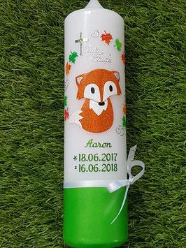 Taufkerze Fuchs TK209-U Ahornblätter / Apfelgrün-Orange-Weiß Holoflitter / Farbige Schrift