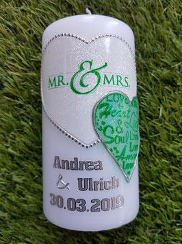"""Geschenkkerze """"Mr. & Mrs."""" HK098 Weiß-Pastellmint Holoflitter"""