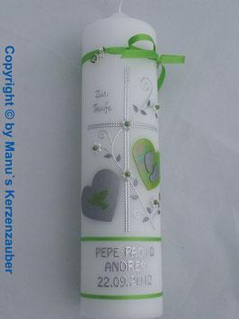 Taufkerze TK109 Klassisch Apfelgrün Marmoriert Blockschrift