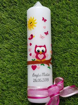Taufkerze EULE das Original mit Kette TK180 in Pink-Rosa Uni mit Sonne & Silberschrift / Doppelband