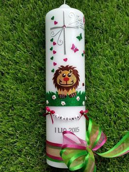 Taufkerze Löwe TK186 Braun-Gelb-Pink-Grasgrün Holoflitter mit Buchstabenkette©