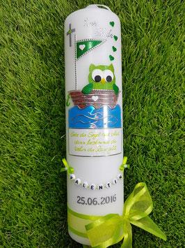 Taufkerze EULE im Boot & Kette TK179 Apfelgrün-Grün Flitter