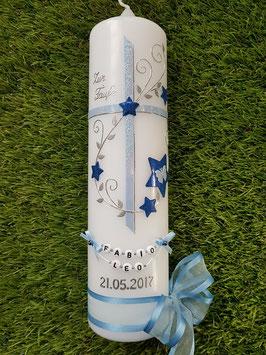 Taufkerze TK102-3 Hellblau-Dunkelblau Holoflitter mit Sterne