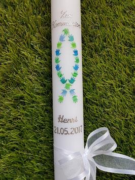 Kommunionkerze Konfirmationskerze Taufkerze KK268 in Blau-Grün