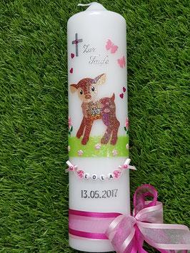 Taufkerze Bambi stehend TK188-1 Braun-Rosa-Pink Holoflitter mit Buchstabenkette©