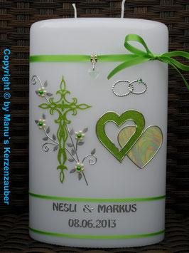 Doppelte Hochzeitskerze HKS206 Apfelgrün Holoflitter mit Herzen