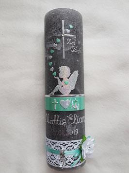 Vintage Taufkerze Silhouetten Schutzengel SK154-1-V / Silber-Zartmint Holoflitter / Blüte / Glaube-Liebe-Hoffnung