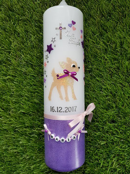 Taufkerze Bambi TK188-U Hellbraun-Rosa-Flieder-Brombeerlila Holoflitter