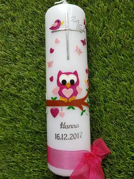 Taufkerze EULE das Original mit Silberschrift TK180 in Pink-Rosa Flitter / Ohne Schnörkel am Kreuz