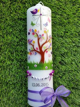 Taufkerzen  Lebensbaum mit Buchstabenkette in Lila TK400-2