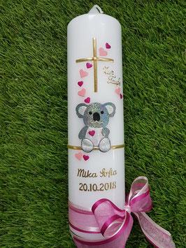 "Taufkerze ""Koala"" TK217 Rosa-Pink Holoflitter mit Goldverzierung / Ohne Wiese"