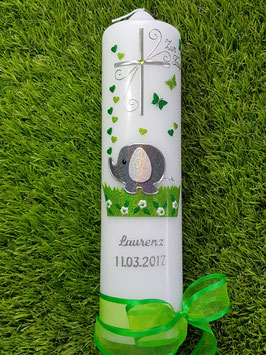 Taufkerze Elefant TK210-1 mit Silberschrift / Anthrazit-Apfelgrün-Grasgrün Holoflitter