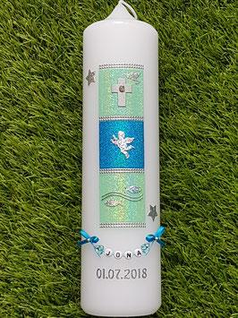 Taufkerze TK098 Symbole Zartmint-Türkis Holoflitter mit Sterne