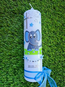 Taufkerze Elefant TK210-9 Anthrazit-Hellblau Uni / Großes Kreuz / Schleife dunkles Hellblau