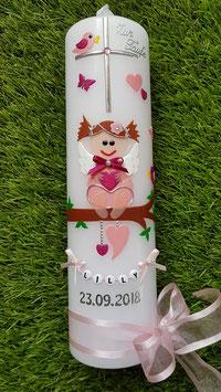 Taufkerze SK155-a SCHUTZENGEL Rosa-Pink Holoflitter Buchstabenkette/Satin-Organzaschleife