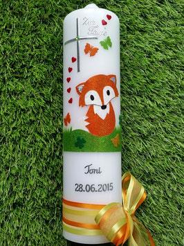 Taufkerze TK209 Fuchs Orange-Weiß-Apfelgrün Holoflitter