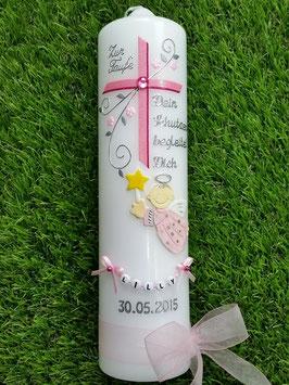 Taufkerze SK150 Schutzengel mit Kreuz Rosa-Pink Holoflitter / Buchstabenkette / Organzaband