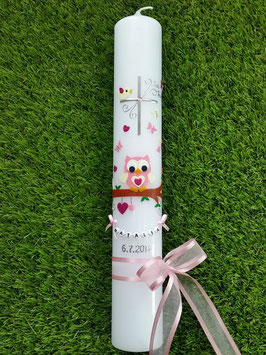 Kommunionkerze EULE das Original KK181 Rosa-Pink Flitter