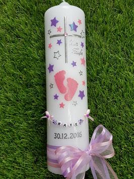 Taufkerze TK096 Große Füsschen Rosa-Flieder Holoflitter mit Silber