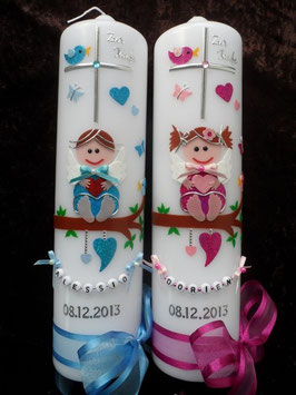 Taufkerzen Schutzengel Zwillinge  Pink/Rosa & Türkis/Hellblau ZW-TK155