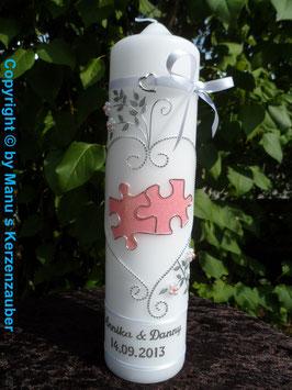 Hochzeitskerze Puzzle HK213 Weiß/Rosa