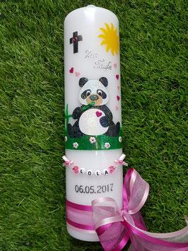 Taufkerze TK196 Panda Mädchen Schwarz-Weiß-Rosa-Pink Holoflitter & Buchstabenkette