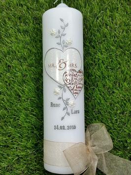 """Hochzeitskerze """"Mr. & Mrs."""" HK099 Weiß Holoflitter"""