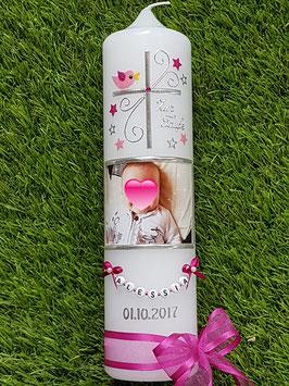 Taufkerze Kreuz & Foto TK100 Pink-Rosa Holoflitter / Sterne