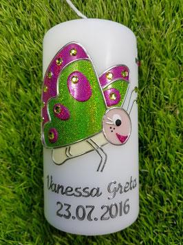 Patenkerze Schmetterling TK183 in Apfelgrün-Pink Flitter mit Silberschrift